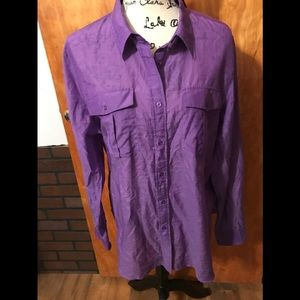 NWT Lauren Ralph Lauren Purple Silk Long Sleeve